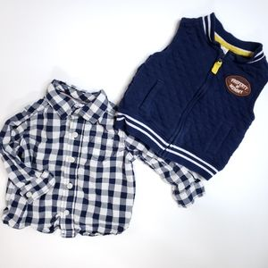 [Carter's] 9 mo. Quilted Vest & Checkered Shirt
